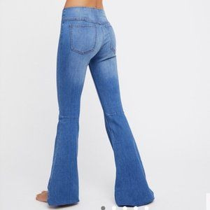 Free People Penny Pull On Flared Leg Jeans Blue